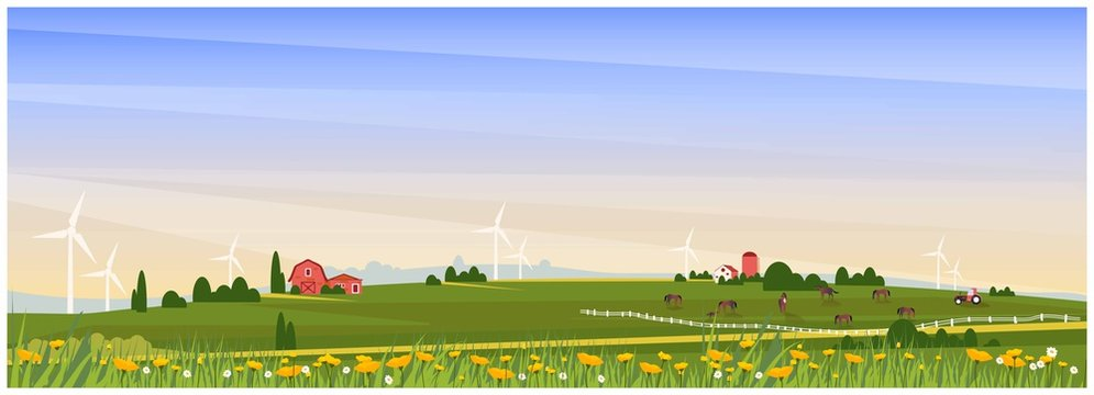 Panoramic Vector illustration of rural countryside with farmhouse,horse ranch and wind turbine in spring. Beautiful flat design of farm or agricultural with poppy and wild flower.Organic farm concept