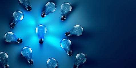 Idea concept image with luminous light bulb