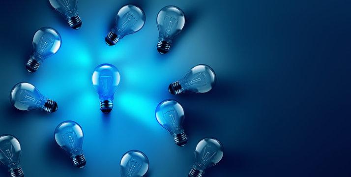 Idea concept image with luminous light bulb