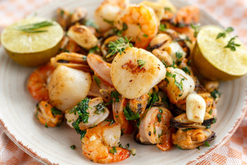 seafood.  scallops, shrimp and mussels