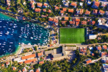 Dubrovnik, Croatia. Aerial view on the town and football stadium. Vacation and adventure. Top view from air. Travel - image