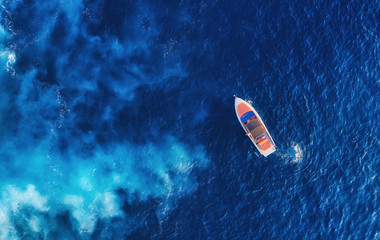 Croatia. Aerial view of luxury floating boat on blue Adriatic sea at sunny day. Yachts at the sea surface. Travel - image