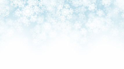 Blurred Motion Falling Snow 3D Effect With Realistic White Snowflakes On Light Blue Background. Merry Christmas And Happy New Year Winter Season Holidays Abstract Illustration In Ultra High Quality