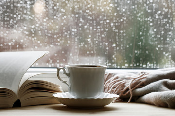 Photo Blinds Tea Porcelain cup with hot tea, soft blanket and open book by the window.