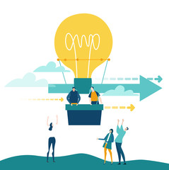 Business people flying with ant hot air balloon shaped as light bulb. Start up, new business, new idea and support.