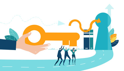 Hand of businessmen passing the golden key to the team. Advisory, support, developing and maintaining new business ideas and planning. Business concept illustration