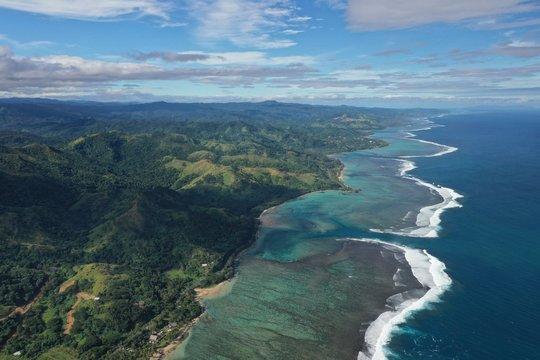Fiji tourism - south coast of Fiji main island. Aerial view.