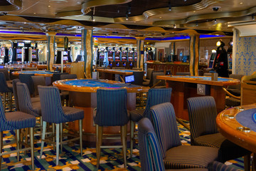 Cruise liner Costa Mediterranea - Nov 10, 2019: Gambling casino interior on cruise ship Costa Mediterranea.