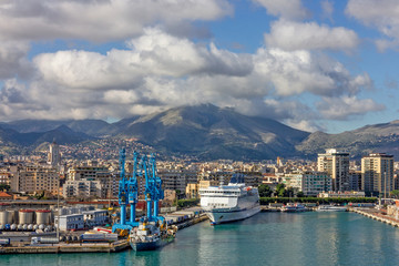 Palermo, Italy - Nov 7, 2019: Palermo sea port landscape city view.