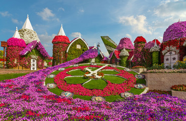 Dubai, UAE - Nov 10, 2019: Floral bird in Miracle garden, landscape view.
