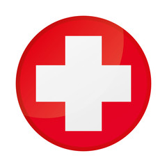 Cross red hospital medical vector sign, symbol. Medical cross isolated on a white background
