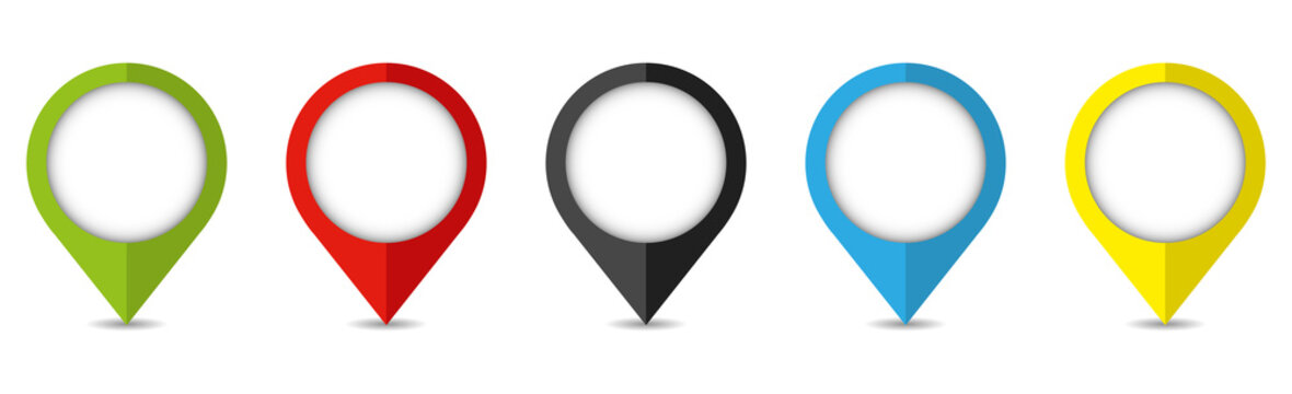 Set of bright map pointers. Location icons isolated on white background.