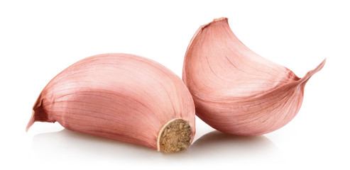 Delicious garlic cloves, isolated on white background Wall mural