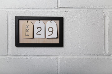 Wall Hanging Calendar in a Picture Frame Showing February 29 Leap Year