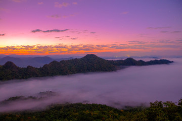 mountains under mist in the morning in Lampang ,Thailand