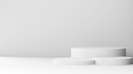 White podium is in an empty abstract interior 3 d