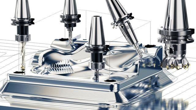 Metallbearbeitung CNC Maschine beim Fräsen, verschiedene Fräsbearbeitungen