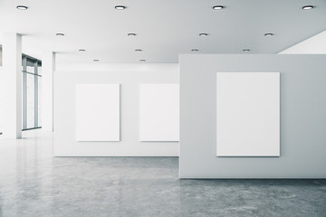 Minimalistic gallery interior with banner