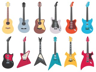 Flat guitars. Electric rock guitar, acoustic jazz and metal strings music instruments. Musical band guitars instrument retro design. Colorful isolated flat vector illustration icons set