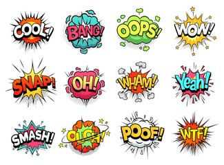 Comic sign clouds. Boom bang, wow and cool speech bubbles. Burst cloud expressions, comics mems humor dialogue bubbles or superheroes speak explode. Isolated cartoon vector signs set Fotobehang