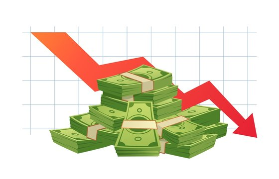 Cash loss graph. Finance inflation schedule, money loss and decrease in income. Trader loss data, budget losses graph or investment bankruptcies isolated vector illustration