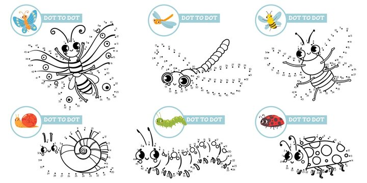Connect dots cartoon insects game. Cute insect dot to dot education games for toddlers, play with preschool kids. Dotted insects picture meditating game. Isolated vector illustration icons set