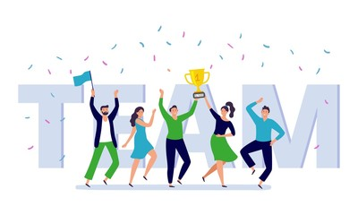 Team of corporate people celebration. Happy office workers celebrate win golden cup, teamwork trophy and success persons. Businessman celebration festival party flat vector illustration