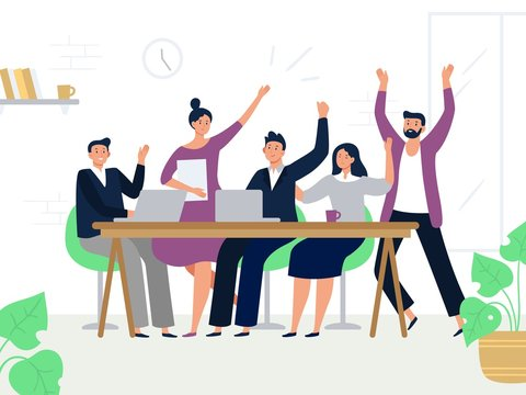 Excited office workers team. Successful managers, happy professional work group and colleagues rejoicing together. Teamwork, businesspeople corporate working flat vector illustration