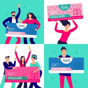 People hold gift coupon. Happy man, woman and couple rejoicing winning and holding gifts certificate. Group of people win gift voucher. Characters with shopping discount flat vector illustration set