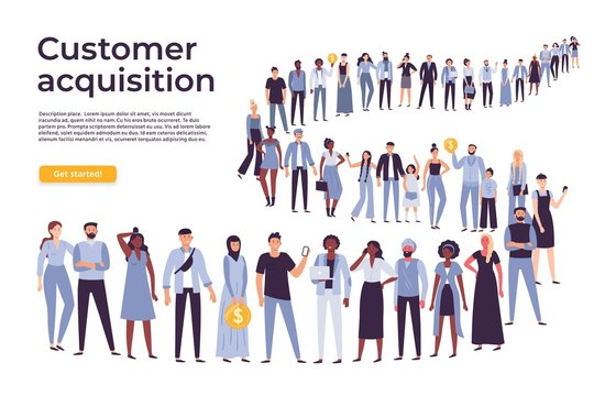 People crowd stand in queue. Business people standing and waiting in long line. Businessman shop crowd, buyer customer wait for service flat vector illustration