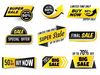 Sale banners. Special offer banner, low price tags and super sale badges. Shopping sales offer sticker, promotion flyer coupon or retail promotional label. Isolated vector icons set