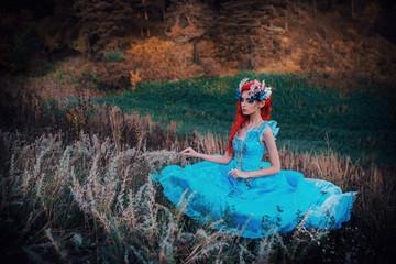 Photo sur Aluminium Mermaid Fairy in the autumn forest
