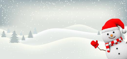Schneemann mit Landachaft