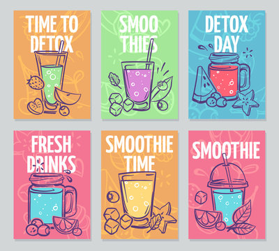 Smoothie flyers. Colorful smoothies poster, fresh cocktails, detox drinks healthy life vegan organic food banners vector design