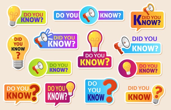 Did you know. Speech bubbles with question mark for social media. Information labels for web post. Discussion marketing vector labels