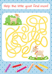 Help the little goat to find his mother. Educational game for children. Cartoon vector illustration. Maze.