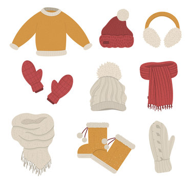 Winter clothes set. Collection of vector clothing items for cold weather. Flat illustration of knitted warm sweater, hats, gloves, scarves, boots..