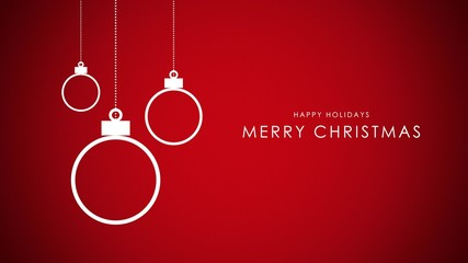 Happy Holidays and Merry Christmas text, white balls on red background