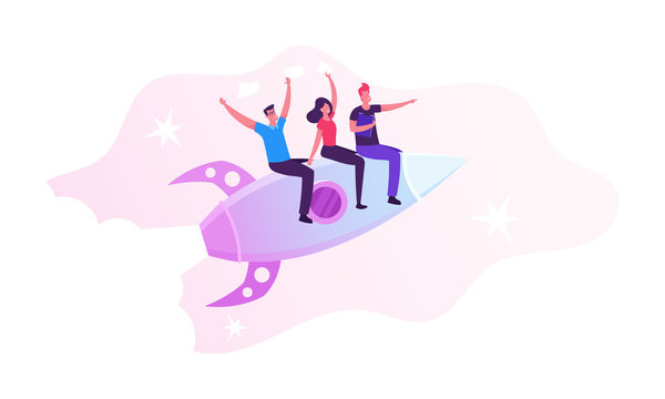Business Competition, Leadership Concept. Businesspeople Team Waving Hands Flying Forward with Rocket Engine Racing to Financial Success. Corporate Challenge, Success Cartoon Flat Vector Illustration