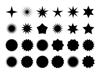 Star burst sticker set. Black flat price tags explosion silhouettes, starburst retro sale badge. Vector illustration star blank label, stickers emblem on white for promo offer sales coupon, banner Fotomurales