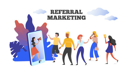 Referral marketing. Communication influence advertising concept, refer your friend client loyalty program. Vector image customers group people holding hands and walking to smartphone
