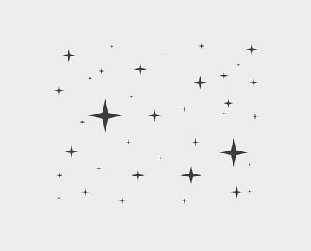 Sparkles star line icons. Sparkle black pictogram set, falling shooting stars. Vector sratdust pattern, starry sky concept, as fashion style in contemporary art