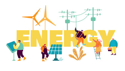 Traditional and Innovation Energy Development Concept. People Use Electric Poles, Solar Panels and Windmills for Electricity Production Poster Banner Flyer Brochure. Cartoon Flat Vector Illustration