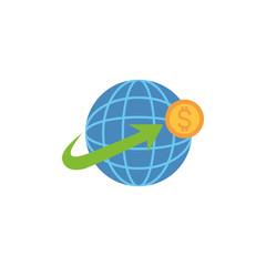 world coin money flat image style