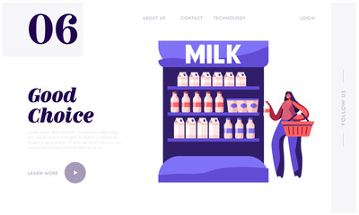 Dairy Farm Production Purchase in Store Website Landing Page. Young Woman Stand at Supermarket Shelf Holding Milk Bottle Reading Information on Label Web Page Banner. Cartoon Flat Vector Illustration
