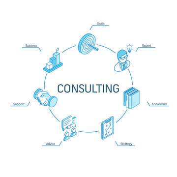 Consulting isometric concept. Connected line 3d icons. Integrated circle infographic design system. Consulting, Goals, Expert, Success symbols. Business Strategy, Advise, Knowledge, Support pictogram