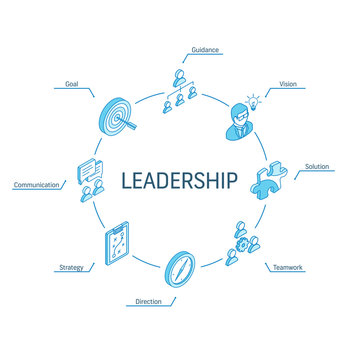 Leadership isometric concept. Connected line 3d icons. Integrated circle infographic design system. Vision, Goal, Guidance and Strategy symbols. Direction, Teamwork, Solution, Communication pictogram