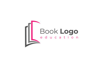 Open Book Logo Education Knowledge Symbol Paper Icon Concept Design Template Element isolated on white background. Flat Vector Illustration.