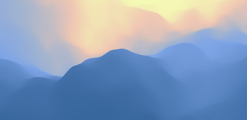 Wall Mural - Landscape with mountains and sun. Sunrise. Mountainous terrain. Abstract background. Vector illustration.