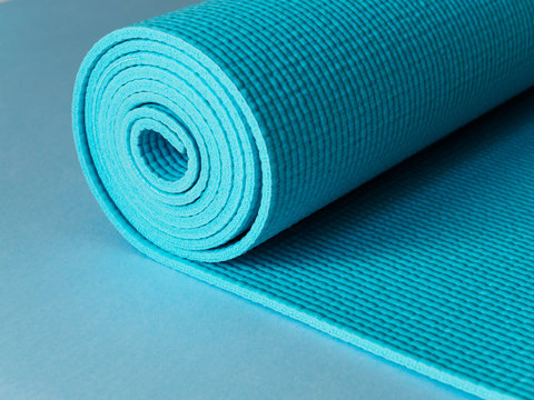 Blue Mat for yoga, fitness or Pilates in the gym
